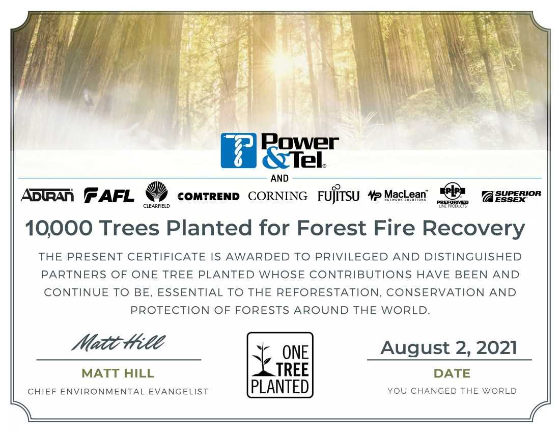 Power & Tel Teams up with Suppliers to Plant 10,000 Trees